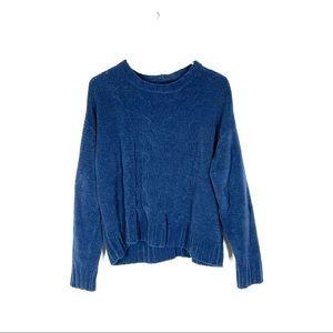 American Eagle Blue Chenille Cable Knit Crew Neck Sweater Size Medium